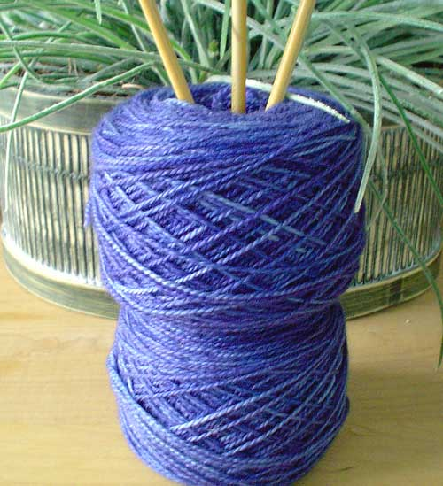 Lisa Souza Periwinkle blue yarn