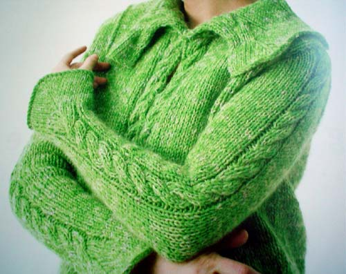 Nicky Epstein Green Sweater